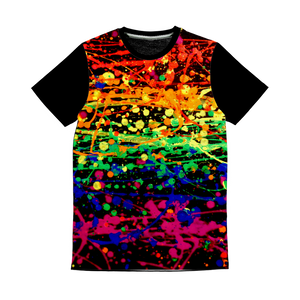 Rainbow pride abstract splatter painting print Classic Sublimation Panel T-Shirt