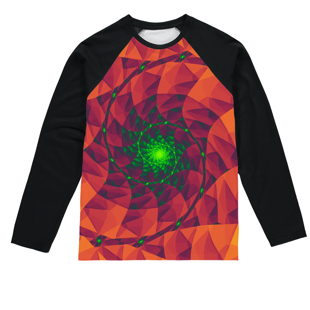 Cool 3D spiral fractal print Sublimation Baseball Long Sleeve T-Shirt