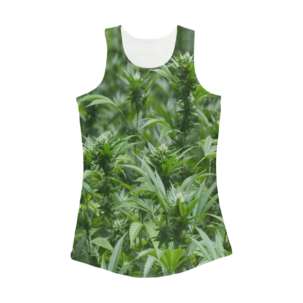 All over print cannabis bud weed Women Performance Tank Top