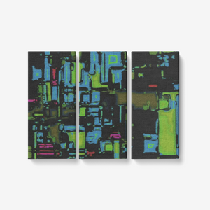 """Oscars Pipes"" Original abstract painting on a limited series print 3 piece canvas wall art set"