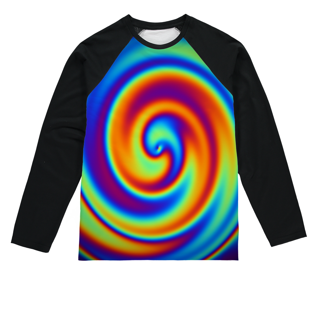 Rainbow Swirly Sublimation Baseball Long Sleeve T-Shirt