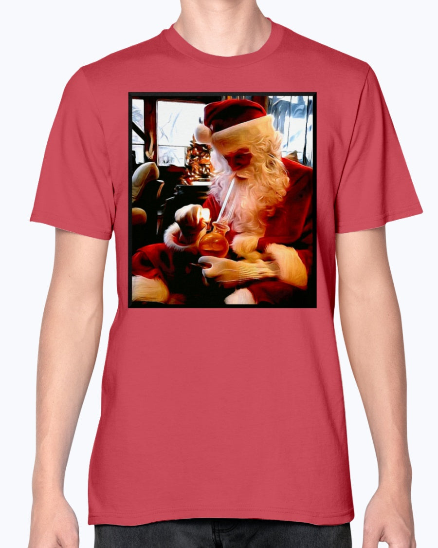 Santa hitting the bong funny Christmas T shirt