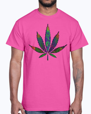 Fractal weed leaf cotton T-shirt