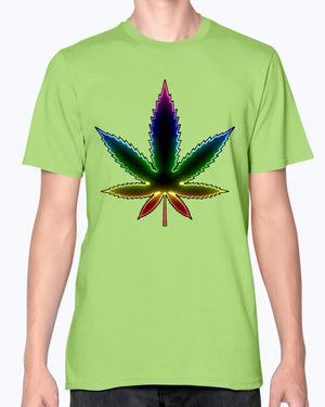 Neon sign abstract cannabis weed leaf fashion fit T shirt
