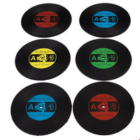 "SET OF SIX SILICONE ""RECORD"" COASTERS"