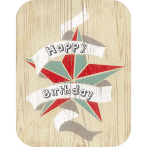 Wooden Cards - Happy B'day star