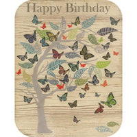 Wooden Cards - Happy B'day tree & butterflies