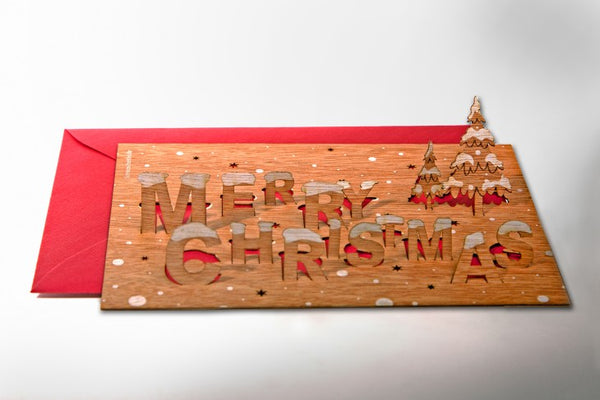 Merry Christmas - Wooden Greeting Card with Pop Up Motif