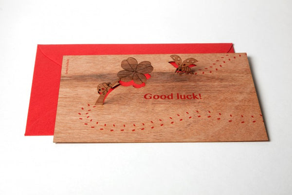 Ladybug, Good Luck - Wooden Greeting Card with Pop Up Motif
