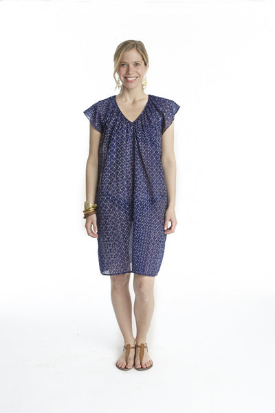 Indigo Mini Ikat Flutter Sleeve Cover Up