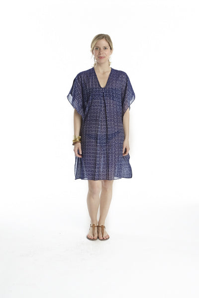 Indigo Mini Ikat Inverted Pleat Cover Up