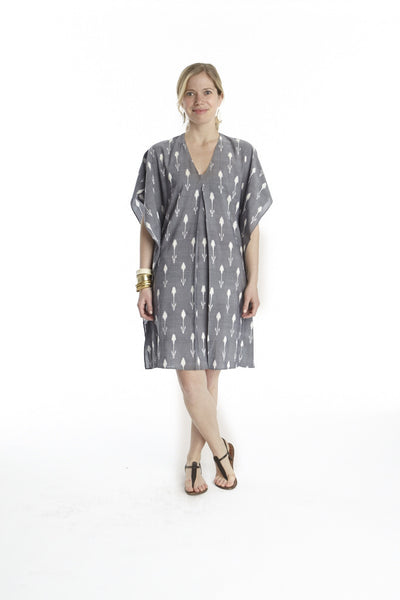 Tulip Ikat Inverted Pleat Cover Up