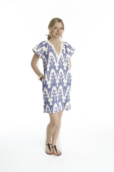 Ikat Flutter Sleeve Dress