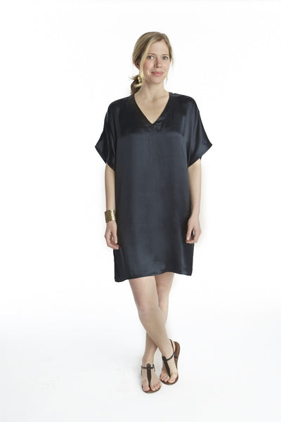 Black Silk Island Dress