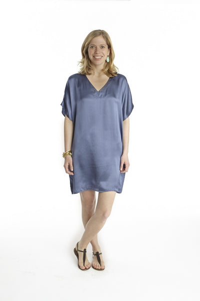 Deep Blue Silk Island Dress
