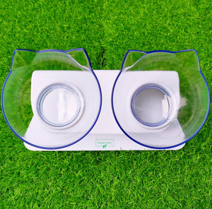 The Tilted Bowl-Double Clear (Stand Included) Petsabsolute