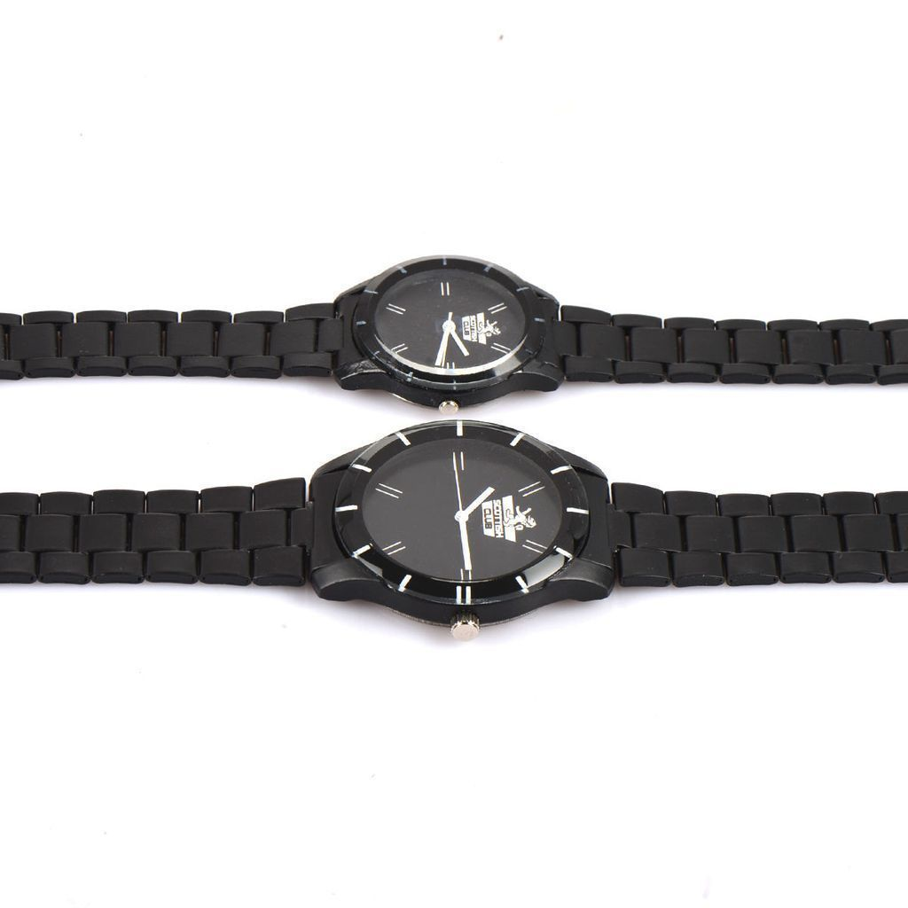 CLASSIC BLACK COLLECTION - COUPLE WATCH COMBO - 1 Year  Warranty