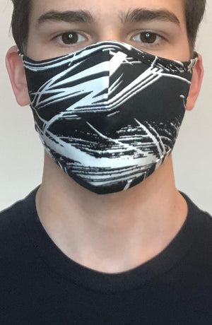 Black Graphic Active Fashion Face mask with filter - Thebritishmask