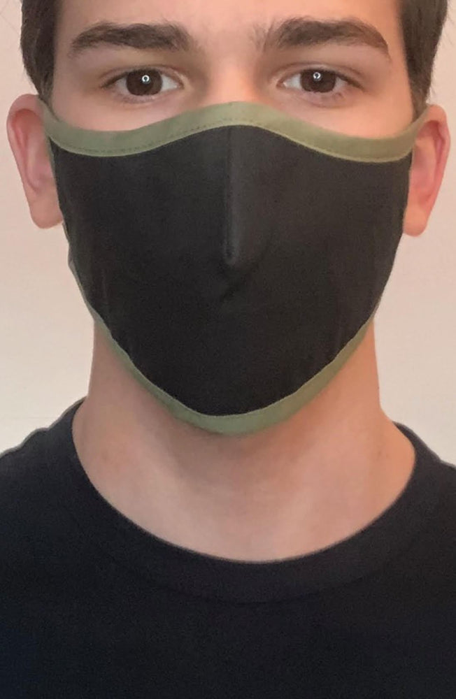 Black Mask with contrast Olive Active Fashion Face mask with filter - Thebritishmask