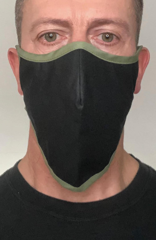 Black with contrast Olive Beard Longline Face mask with filter