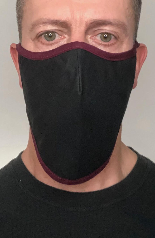 Black with contrast Plum Beard Longline Face mask with filter