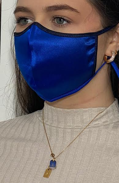 Blue & Black Silk Fashion Face mask with filter - Thebritishmask