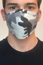 Grey Camo Active Fashion Face mask with filter