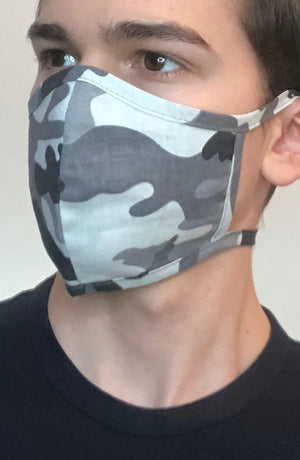 Grey Camo Fitted Fashion Face mask with filter - Thebritishmask
