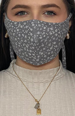Grey Ditsy Print Active Fashion Face mask with filter