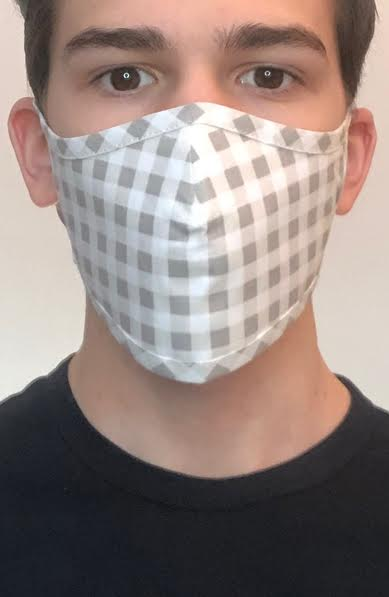Grey Gingham Active Fashion Face mask with filter