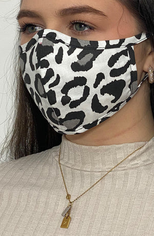 Grey Leopard Fitted Fashion Face mask with filter - Thebritishmask