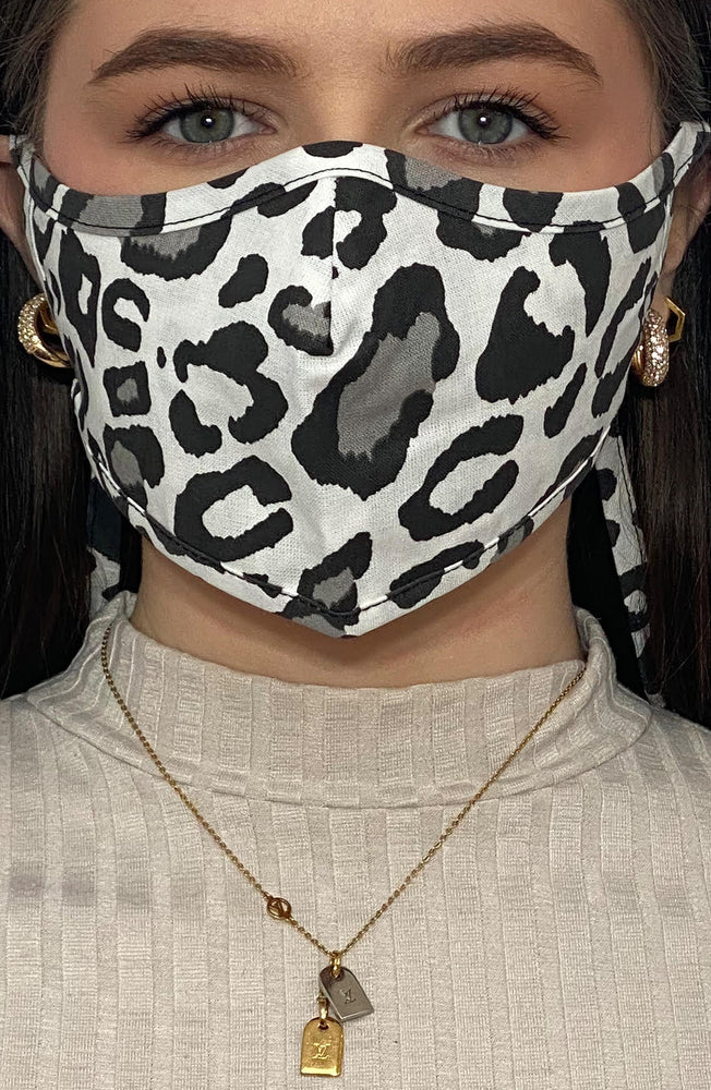 Grey Leopard Print Active Fashion Face mask with filter