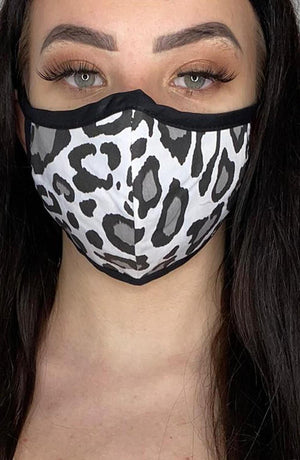 Grey Leopard with Contrast Fitted Fashion Face mask with filter - Thebritishmask