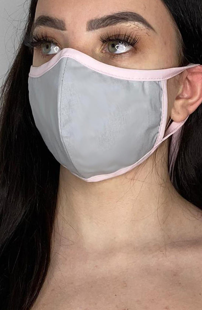 Grey Mask with contrast Pink Fitted Fashion Face mask with filter - Thebritishmask