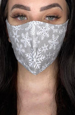 Grey Snowflake Active Fashion Face mask with filter