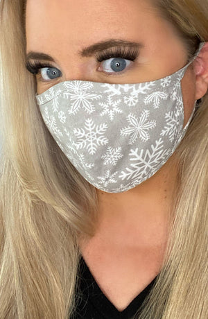 Grey Snowflake Fitted Fashion Face mask with filter - Thebritishmask