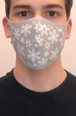 Grey Snowflake with contrast Grey Active Fashion Face mask with filter