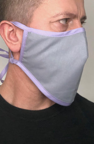 Grey with contrast Lilac Beard Longline Face mask with filter - Thebritishmask