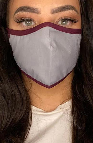 Grey with contrast Plum Active Fashion Face mask with filter - Thebritishmask