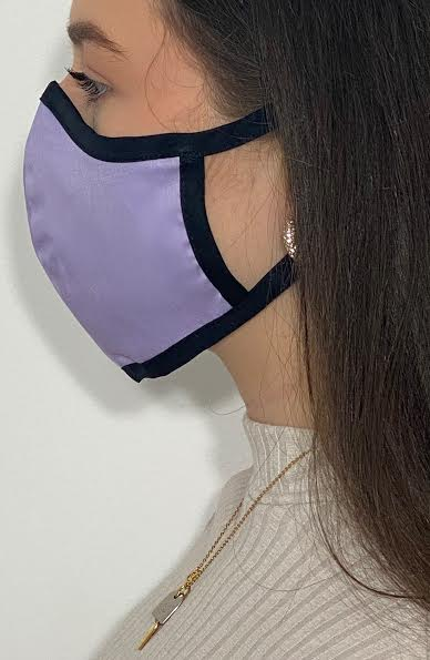 Lilac with Contrast Fitted Fashion Face mask with filter - Thebritishmask