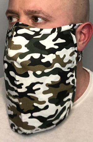 Multi Camo X-long Beard Longline Face mask with filter - Thebritishmask