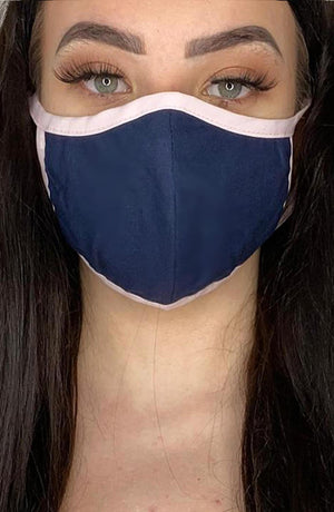 Navy Mask with contrast Pink Fitted Fashion Face mask with filter - Thebritishmask