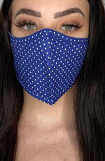 Navy Polka Dot Active Fashion Face mask with filter