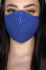 Navy Polka Dot Fitted Fashion Face mask with filter