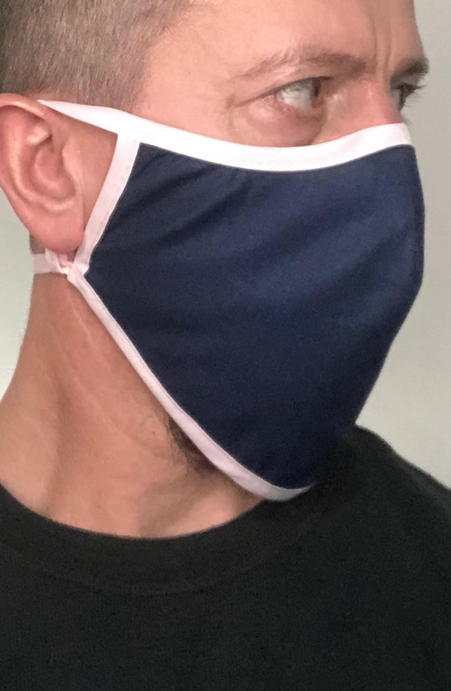 Navy with contrast Pink Beard Longline Face mask with filter - Thebritishmask