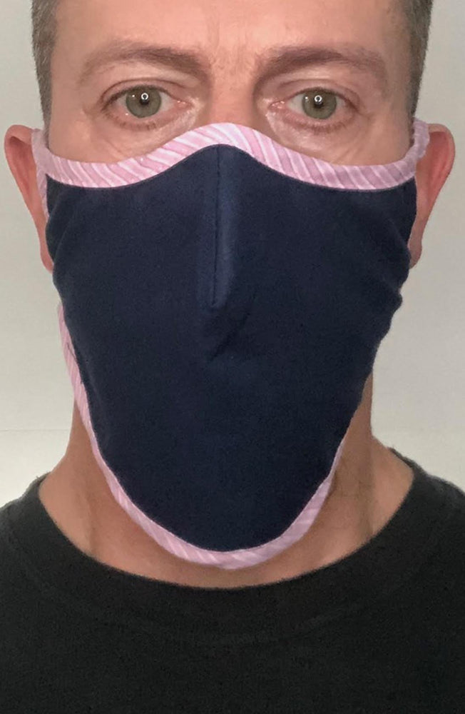 Navy with contrast Stripe Beard Longline Face mask with filter - Thebritishmask