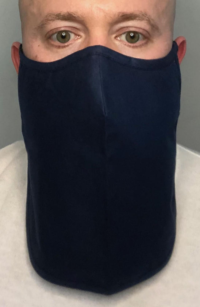 Navy X-long Beard Longline Face mask with filter