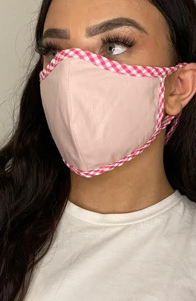 Nude Mask with contrast Pink Gingham Fitted Fashion Face mask with filter - Thebritishmask