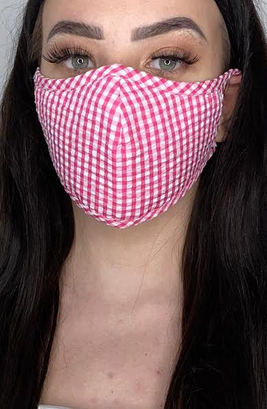Pink Gingham Active Fashion Face mask with filter