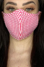 Pink Gingham Fitted Fashion Face mask with filter